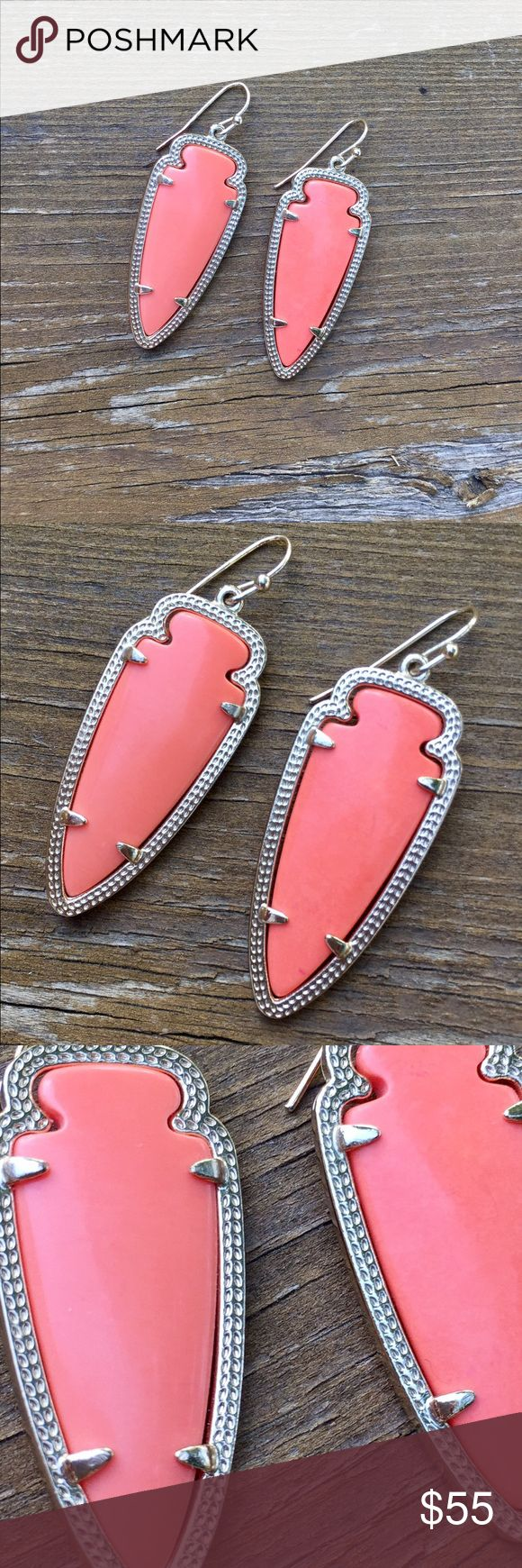 Kendra Scott Sky Earrings Kendra Scott Sky earrings in orange color. They look silver in the photos but they are gold! No sign of wear and still shiny with no tarnishing! Kendra Scott Jewelry Earrings