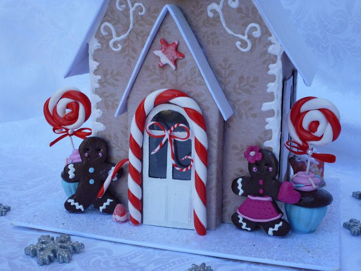 Gingerbread House made out of chipboard and fimo clay