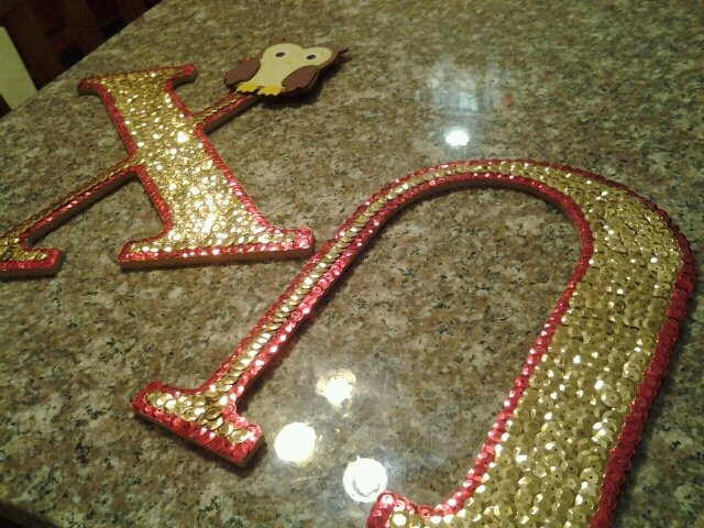 sequin gold & red #sorority letters #DIY