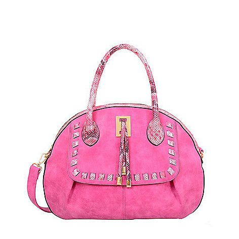 Pink purse with gold accents.