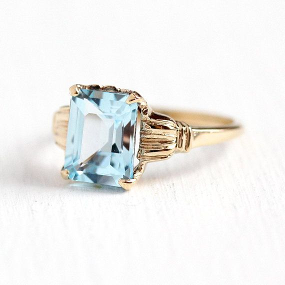 Blue Topaz Ring Vintage 10k Yellow Gold Sky Blue 2 75 Carat Beautiful Rings Vintage Antique Rings Vintage Blue Topaz Jewelry