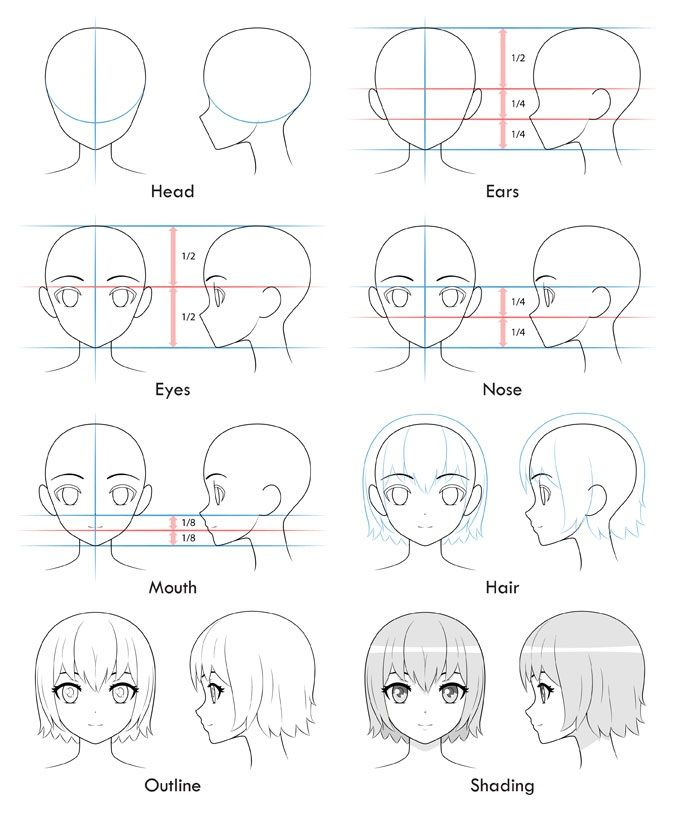 Cara Menggambar Kepala Cewek Atau Perempuan Bergaya Anime ...