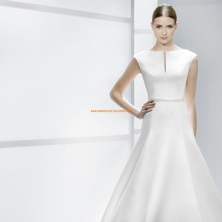 Robe de mariée 2014 évasée satin col V