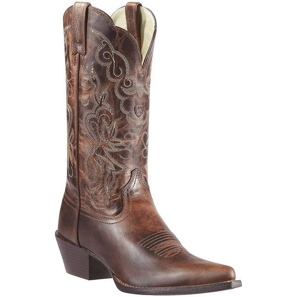 Ariat Women's Sassy Brown Heritage J-Toe Western Boots ($170) ❤ liked on Polyvore