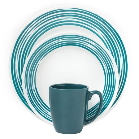 #Corelle Boutique™ Brushed 16-Pc Dinnerware Set, Turquoise - our Boutique collection embodies the subtle sophistication of fine china, but remains true to the celebrated, durability heritage of Corelle. // click to buy