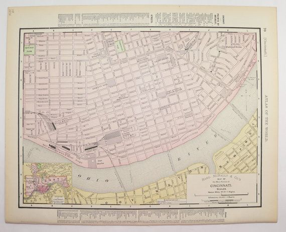Cincinnati Map, Ohio State Map 1898 Vintage Map, City Street Map, Ohio Wedding Gift for New Home, Cincinnati Ohio, Antique Wall Map available from OldMapsandPrints on Etsy