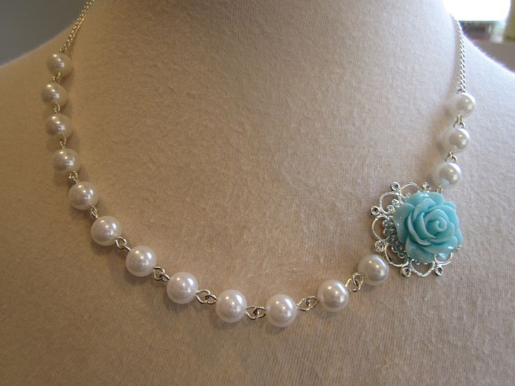 Bride Bridesmaids Jewelry  Asymmetrical Wedding jewelry pearls Necklace Choker turquoise Rose Traditional Elegant Whimsical Vintage.. $25.00, via Etsy.