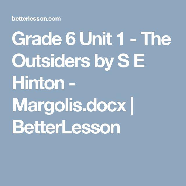 Grade 6 Unit 1 - The Outsiders by S E  Hinton - Margolis.docx | BetterLesson