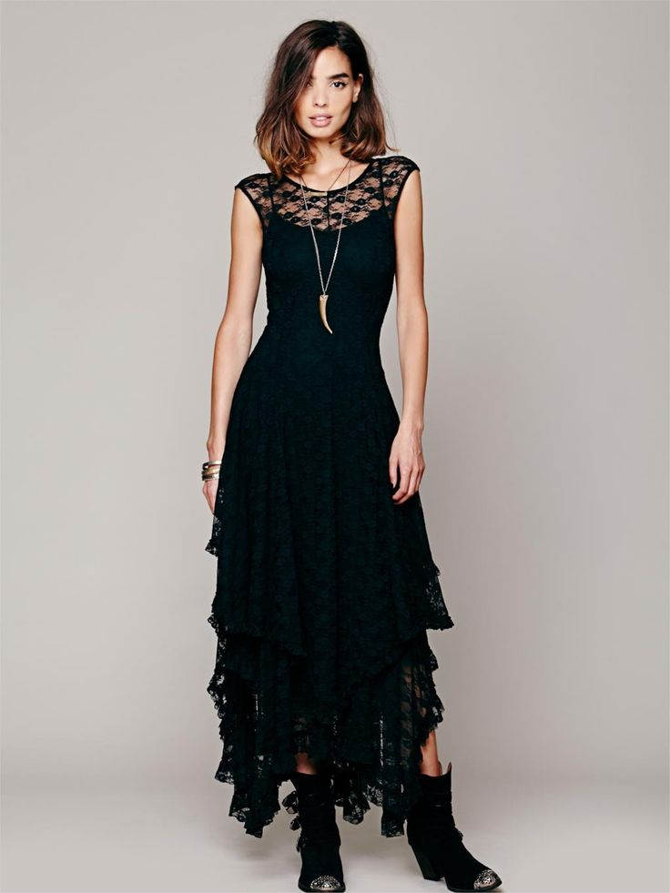 Women's Embroidery Sheer Lace Double Layered Ruffled Trimming Low V-Back Dress (No lining) | 9th Wave