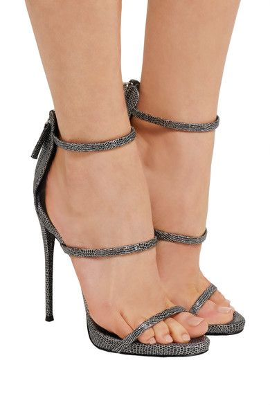 Giuseppe Zanotti - Metallic Lizard-effect Leather Sandals - Silver - IT35.5