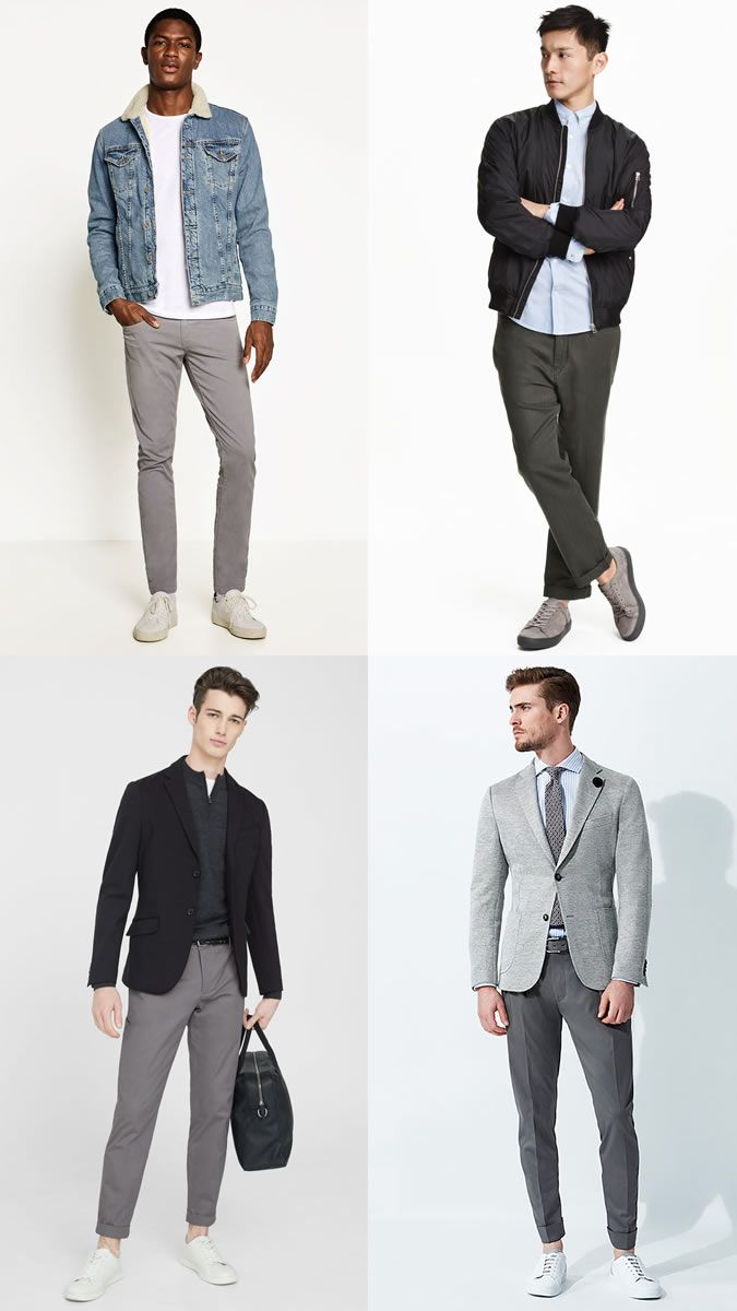Men's Grey Chinos Outfit Inspiration Lookbook