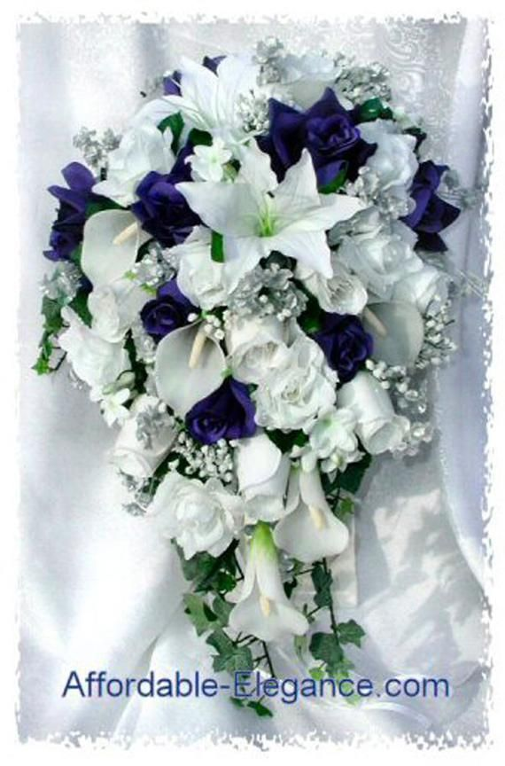Navy Blue Or Royal Blue White Cascade Bridal Bouquet Silver Accents Gorgeous Quality Re In 2020 Wedding Flowers Flower Centerpieces Wedding Cascading Bridal Bouquets