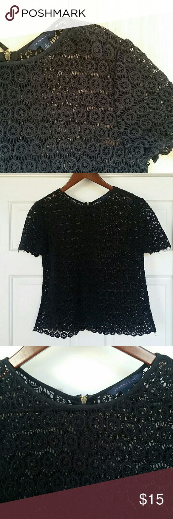 Tommy Hilfiger Crochet Knit Black Top This gorgeous Tommy Hilfiger top is perfect for the spring. More crop top then full, it would work great over a bathing suit during the day or dressed up for a night out. Has a quarter zipper in the back. Tommy Hilfiger Tops Crop Tops