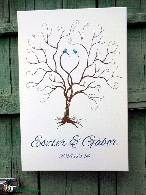 Esküvői ujjlenyomatfa, vászon kép A2, Esküvői fa, szerelmes madár pár, Fa festmény, Esküvői dekor, Esküvő, Esküvői dekoráció, Meghívó, ültetőkártya, köszönőajándék, Nászajándék, Meska