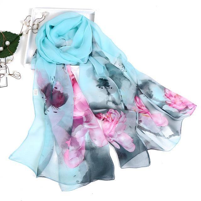Women Floral Leopard Print Scarf Wrap Ladies Chiffon Shawl Scarves Holiday Beach