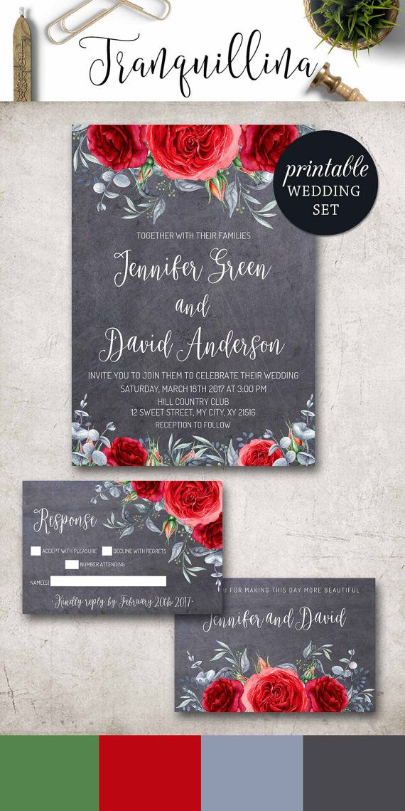 Red Wedding Invitation, Winter Floral Wedding Invitation DIY. Printable Wedding Invitations, Rose Wedding Invite Spring Summer Boho Wedding. Red Gray Wedding trends. tranquillina.etsy.com