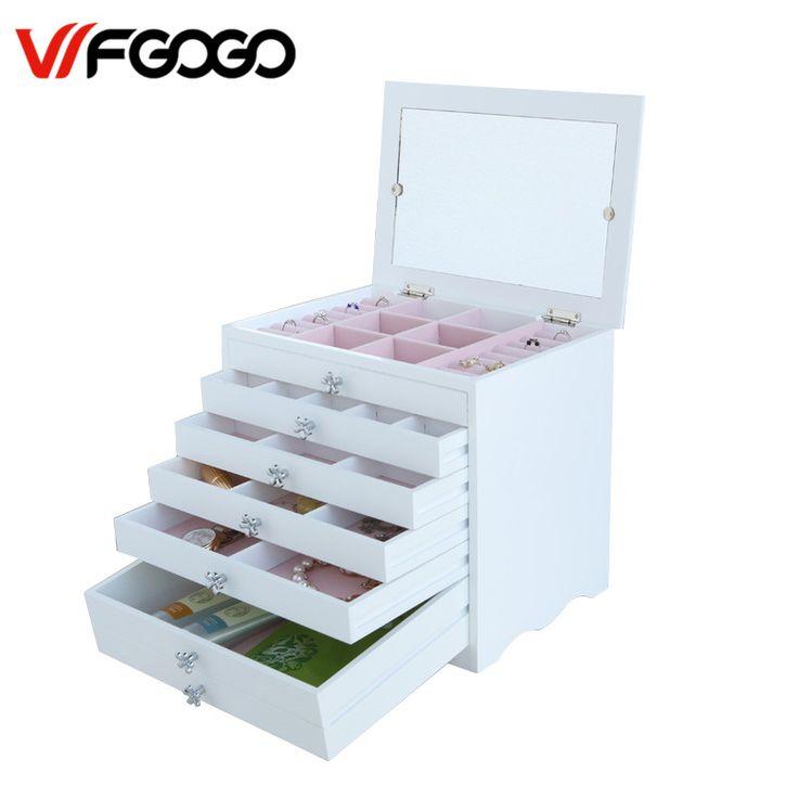 WFGOGO Personalizado De Madeira caixa de Armazenamento de Jóias Maquiagem organizador MDF E0 E1 Bonita caixa de Jóias para a exibição de Design, Suporte OEM & ODM