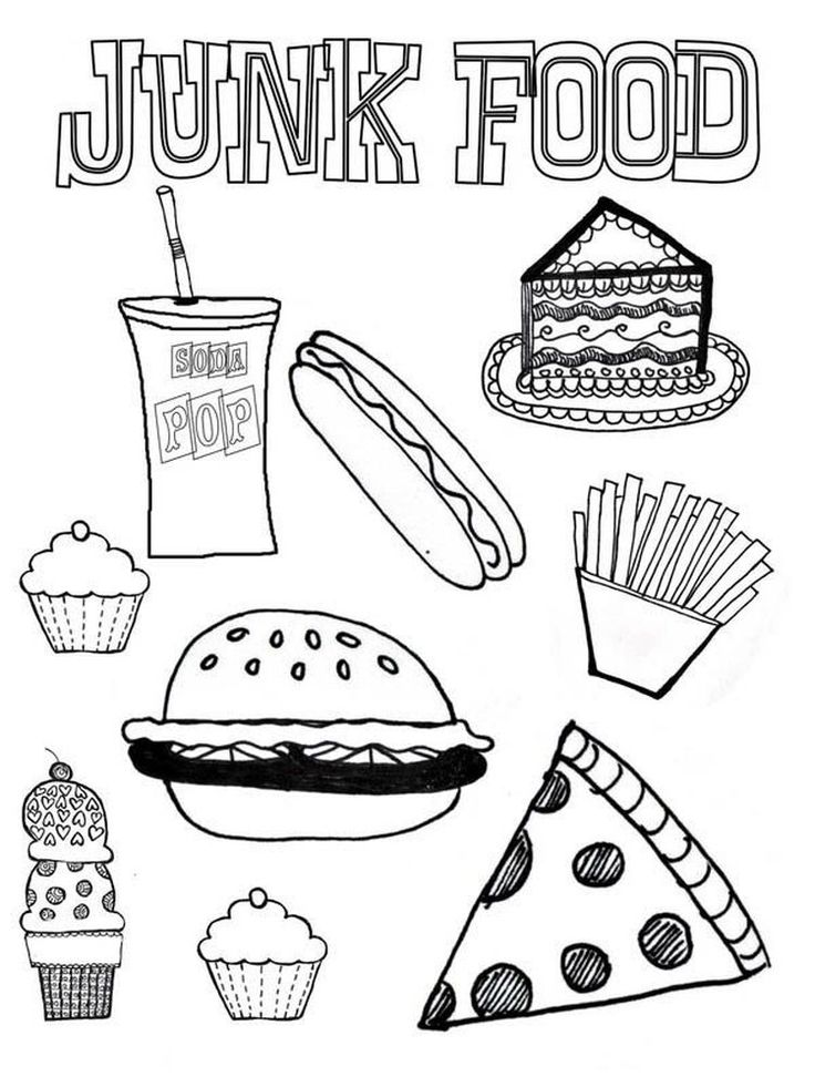 Food Coloring Pages Printable in 2020 (With images) Food