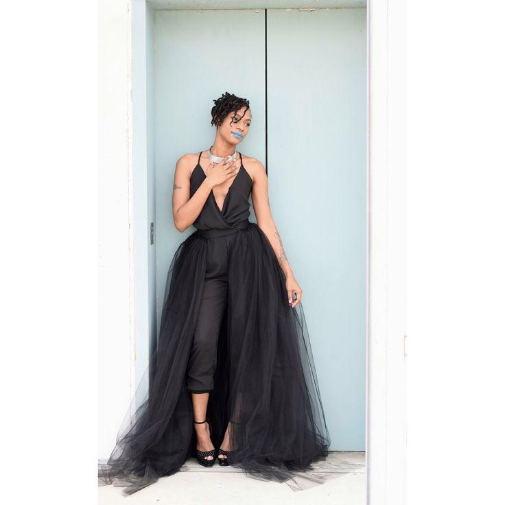 Tulle overskirt black tulle overlay skirt tulle train for Black tulle wedding dress