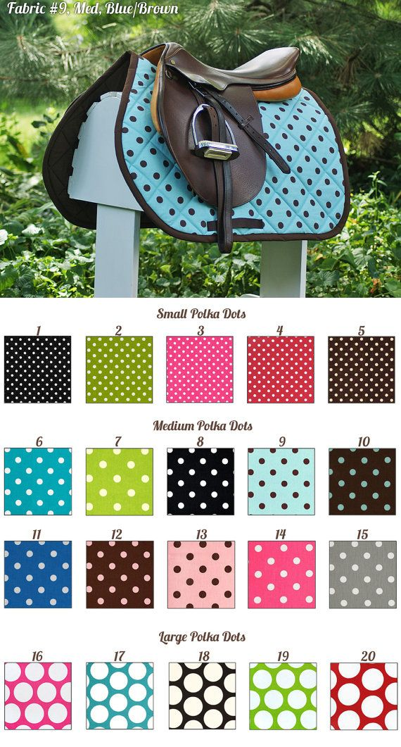 MADE TO ORDER Polka Dot Saddle Pad Many Colors by PaddedPonies, $68.00. cute