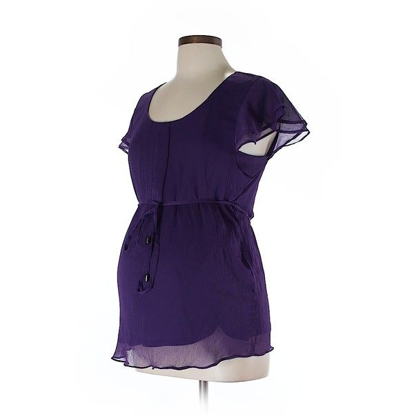 Pre-owned Motherhood Short Sleeve Blouse Size 12: Dark Purple Women's... ($15) ❤ liked on Polyvore featuring tops, blouses, dark purple, short sleeve tops, motherhood maternity, purple blouse, short sleeve blouse and purple top