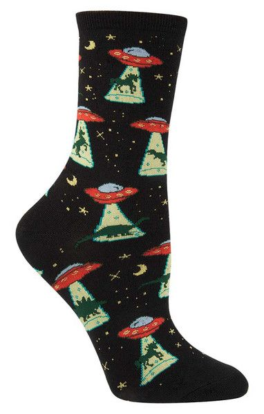 So that's where the dinosaurs and unicorns went!  Crew length socks with UFOs abducting unicorns and dinosaurs - available in lilac or black.  Fits women's shoe size 5-10.