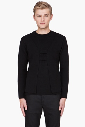 MUGLER Black Cutout Front sweater <-- The cut-out is subtle - awesome!: Front Sweaters, Wool Sweaters, Men Products, Menswear Wardrobes, Dreams Menswear, Black Cutout, Cutout Layered, Cutout Front, Mugler Black