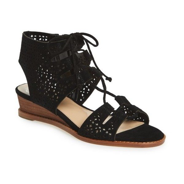 Women's Vince Camuto Retana Perforated Wedge Sandal ($83) ❤ liked on Polyvore featuring shoes, sandals, black suede, leather wedge sandals, black wedge heel sandals, cut out wedge sandals, wedge heel sandals and low wedge shoes