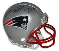 Tom Brady & Laurence Maroney New England Patriots Autographed Mini Helmet
