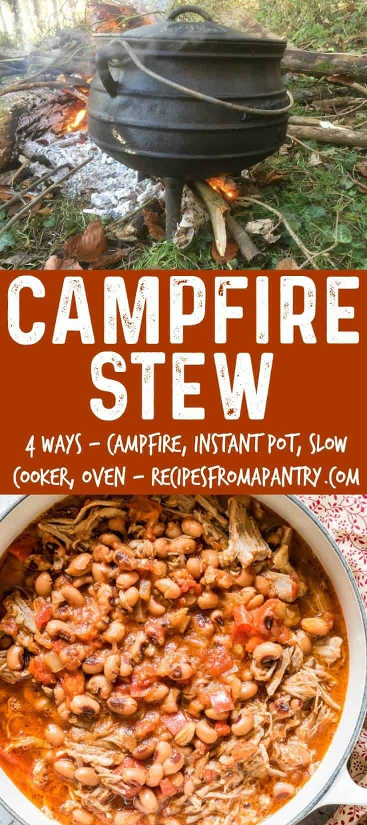 Check out this AMAZING and FLAVOURFUL Campfire Stew recipe! You'll learn how to make Instant Pot Campfire Stew, Slow Cooker Campfire Stew, Oven Campfire Stew, and of course Campfire Stew on the campfire. A hearty and easy stew recipe from Recipes from a Pantry. #campfirestew #camping #camprecipes #stew via @recipespantry