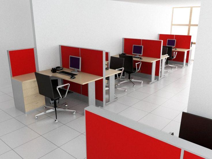 """Estaciones tipo """"L"""" con cajonera pedestal y separadores de ambiente mediante paneles altos tapizados en color rojo."""