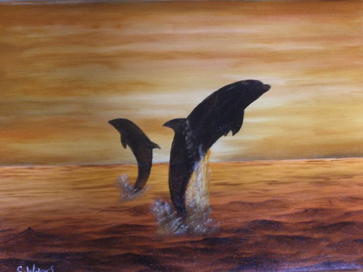 Leaping Dolphins 16 x 22 by Colin Walters