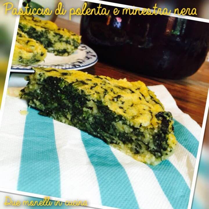 Il pasticcio di polenta e minestra nera è un piatto molto semplice da preparare, fatto con ingredienti poveri e leggeri è perfetto per un antipasto o una cena leggera