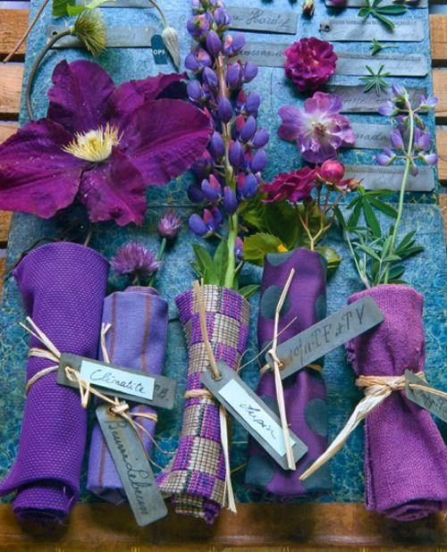 Purple #flowers.  Keep the cloth wet so the flowers do not wilt.