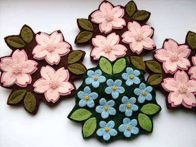 Cherry Blossoms and Forget-Me-Nots from Lupin Handmade (Bugs and Fishes by Lupin blog)