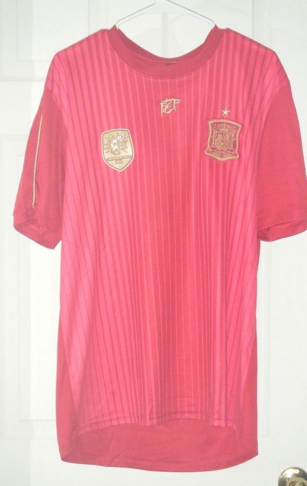 Spain World Cup 2010 Champions Soccer Red Futbol Jersey Used Spain