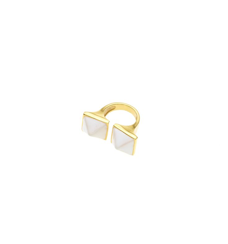 PUSHMATAaHA/ Twin Spirit Ring/ Gold with White Enamel