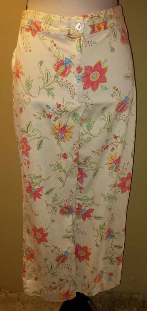 j.h. collectibles Floral Capri Pants~Size 14~Stretch Cotton Spandex~Bright Color   Clothing, Shoes & Accessories, Women's Clothing, Pants   eBay!