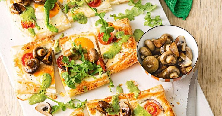 This tart is a great choice whether it's for breakfast, lunch or dinner! Egg, mushroom and pesto taste divine together on the golden pastry base.