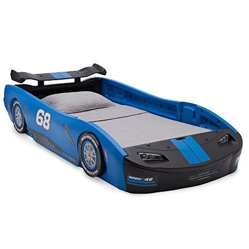 Children Blue Turbo Race Car Twin Bed Secured Frame Toddler Kids