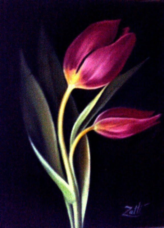 COMO PINTAR TULIPAS    Not one stroke, but like how he used dark and light and the placement of the tulips