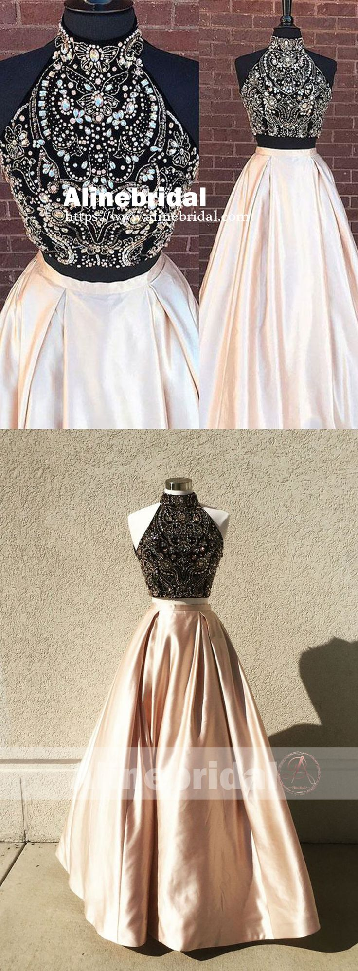 Gorgeous Two Piece Beaded Top High Neck Sleeveless Ball Gown Prom Dresses,PD00072