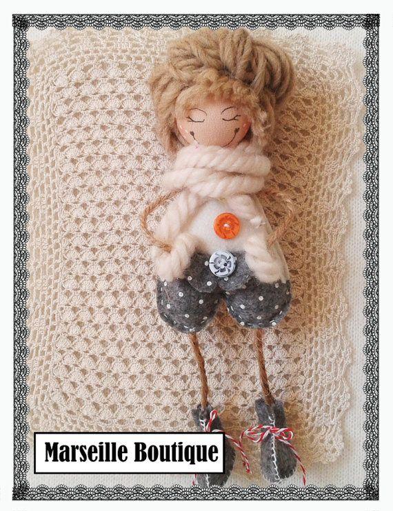 lovely felt princess, felt doll, doll ornaments, heart ornament, christmass ornament, home decor,