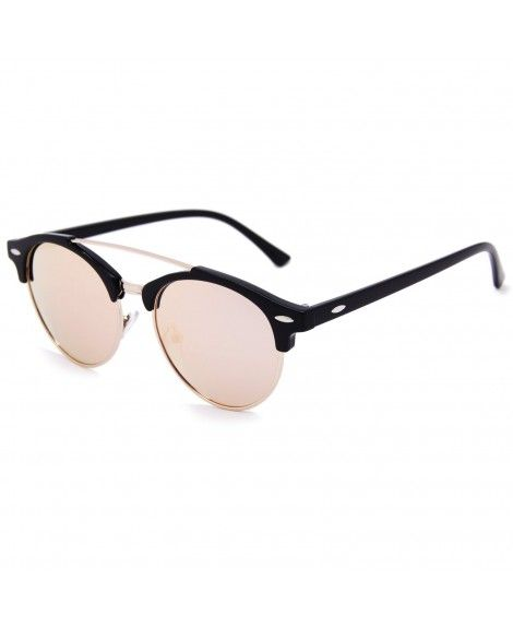 fe97fd3996 Double Bridge Semi-Rimless Retro Polarized Reflective Round Wayfarer  Sunglasses - Black Frame Pink Lens
