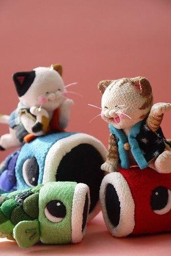 「 鯉のぼり猫 三毛・茶トラ 」 - ちりめん猫のハンドメイド日和