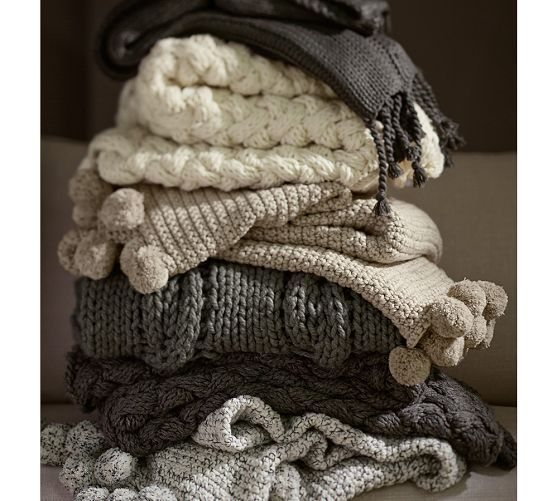 Chunky Cable Handknit Throw | Pottery Barn
