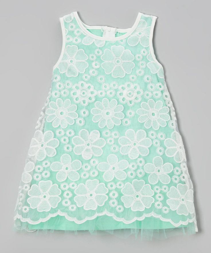 Loving this Mint & White Lace Overlay Shift Dress - Toddler & Girls on #zulily! #zulilyfinds
