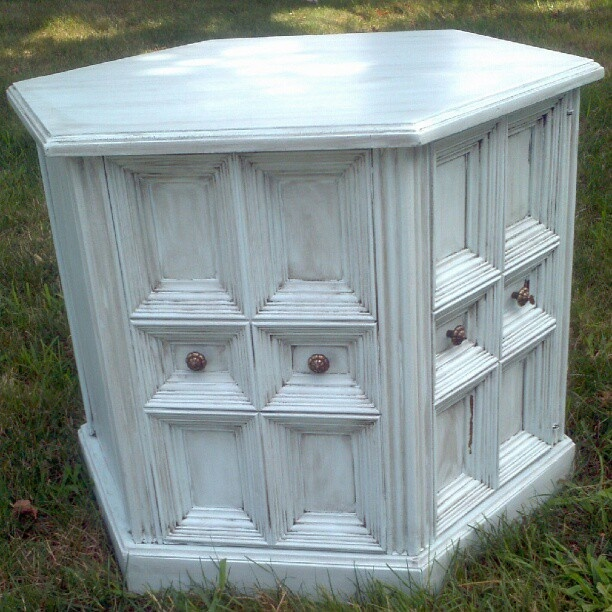 Furniture Restorations By Cheriann Hexagon End Table For Sale   Light Blue,  Antique Glaze
