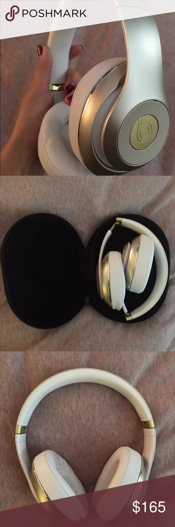 Beats by Dre Beats Studio Wireless Gold Gently used Beats Bluetooth Gold headphones. Barely worn. Comes with hard case, charging chord, and two connection chords (white and red) when you don't want to use Bluetooth ability. Light marks on plush leather ear cover. Message with any and all questions Other