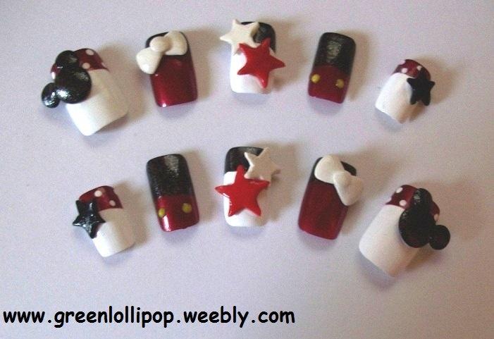 Japanese 3D Nail Art Set Mickey Mouse by GreenLollipopDesigns http://cutenail-designs.com/